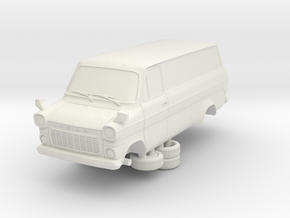 1-76 Ford Transit Mk1 Long Base Van in White Natural Versatile Plastic