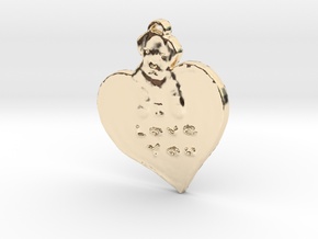 I love you with puppy in 14k Gold Plated Brass