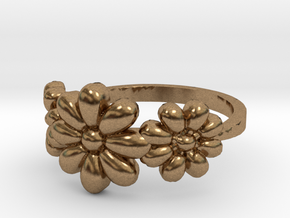 3 Flowers Ring in Natural Brass