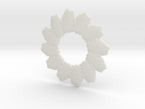Leafs mandala base shape in White Natural Versatile Plastic