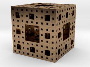 Menger sponge Square Cube in Natural Brass