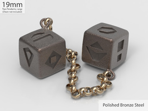 Smuggler's Lucky Sabacc Dice, Han Solo, Star Wars in Polished Bronze Steel: Large