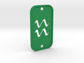 Aquarius (The Water-bearer) DogTag V2 in Green Processed Versatile Plastic