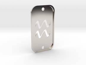 Aquarius (The Water-bearer) DogTag V2 in Rhodium Plated Brass
