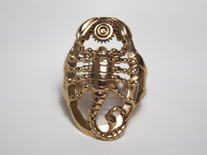 Mech Scorpion Ring Size 13 in Polished Bronze