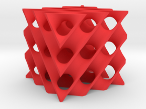 Schwarz Diamond Minimal Surface in Red Processed Versatile Plastic