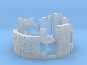 Miami Skyline - Cityscape Ring in Smooth Fine Detail Plastic: 7.5 / 55.5