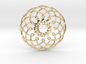 "Metatron Sunflower Pendant 1.5"" in 14k Gold Plated Brass"