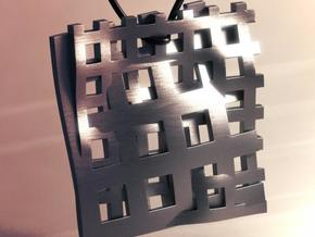 Square Pendant_Double Grids in Polished Bronzed Silver Steel