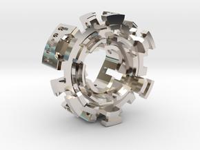 CCH_v2 1 inch in Rhodium Plated Brass