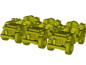 1/87 scale WWII Jeep Willys 4x4 SAS vehicles x 3 in Smooth Fine Detail Plastic
