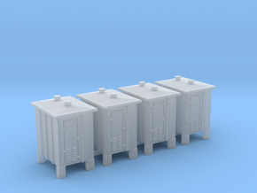 4 pcs N scale signal relay box on sprue in Smooth Fine Detail Plastic