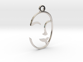 Face Pendant in Rhodium Plated