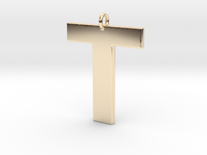 T Pendant in 14k Gold Plated Brass