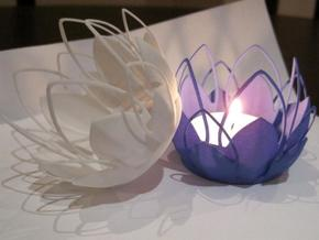 Tea-light - Flower in White Natural Versatile Plastic