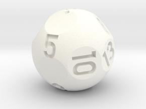d13 Sphere Dice in White Processed Versatile Plastic