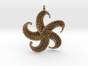 5Starfish Pendant in Natural Brass