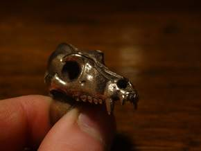 Wolf Skull Ring in Polished Bronzed Silver Steel: 4.25 / 47.125