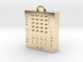 DJ Mixer Pendant in 14k Gold Plated Brass