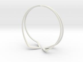 HIDDEN HEART Bracelet. Pure Elegance  in White Premium Versatile Plastic: Medium