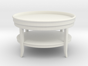 Miniature Low Table Rous. Round - Misendemeure in White Natural Versatile Plastic: 1:12