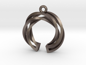 Twisted ring pendant with multiple branchs in Polished Bronzed Silver Steel