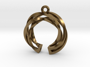Twisted ring pendant with multiple branchs in Natural Bronze