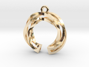 Twisted ring pendant with multiple branchs in 14k Gold Plated Brass