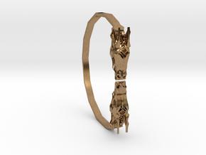 Geometric Dragon Bracelet in Natural Brass