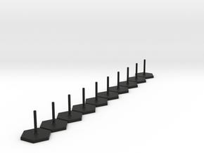Hexagon Stand 1 inch 10x in Black Natural Versatile Plastic