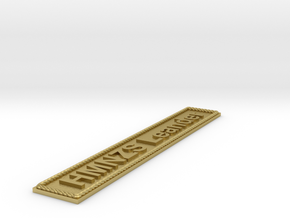 Nameplate HMNZS Leander in Natural Brass