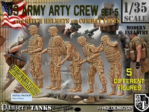 1/35 US Arty Crew Hot Weather Set5 in Smooth Fine Detail Plastic