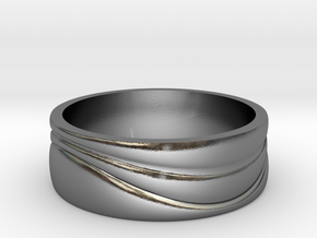 Ebb and Flow Ring No. 3 - Single Wave, Size 9 in Polished Silver