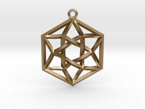 "Woven Vector Equilibrium Pendant v2  1.2"" in Polished Gold Steel"