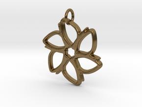 Six-Petaled Flower Pendant in Natural Bronze