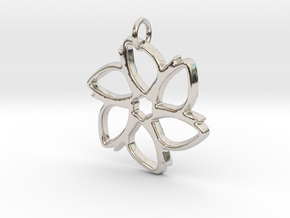Six-Petaled Flower Pendant in Rhodium Plated Brass