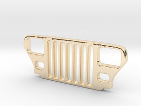 Jeep YJ Grill Keychain in 14k Gold Plated Brass