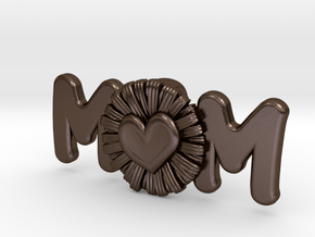 Daisy Mom Heart Pendant in Polished Bronze Steel: Extra Small