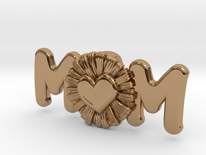 Daisy Mom Heart Pendant in Polished Brass: Extra Small