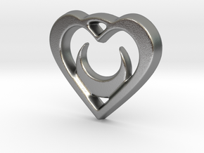 Crescent Moon Heart - 25mm Pendant in Natural Silver