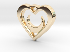 Crescent Moon Heart - 25mm Pendant in 14K Yellow Gold