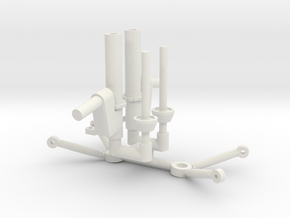 Strut Control Arms for CA Front Clip 1/12 in White Natural Versatile Plastic
