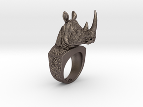 Rhino Ring in Polished Bronzed Silver Steel: 7 / 54