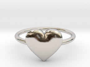 Big single heart ring, Size 7 in Rhodium Plated Brass