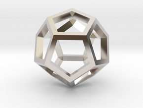 Regular Dodecahedron Mesh in Rhodium Plated Brass