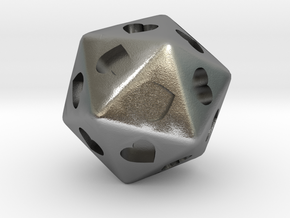 d20 Hearts in Natural Silver