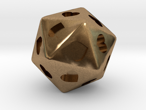 d20 Hearts in Natural Brass