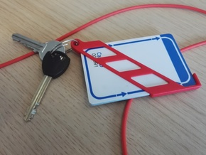 Nano Wallet ( 3 cards + keys ) in Red Processed Versatile Plastic