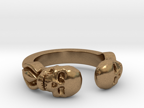 Joker's Double-Skull Ring - Metals in Natural Brass: 7 / 54