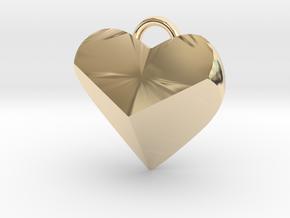 Geometric Heart Pendant in 14k Gold Plated Brass